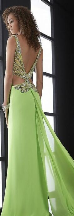 Sexy A-Line V-neck Sage Sleeveless Evening Dress ❤