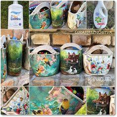 Játékok tárolására, sétához egy nagyon egyedi és kiváló eszköz a kicsiknek! Műanyag és a megfelelően lekezelt felülete révén akár homokos, vizes is lehet, viheti magával bárhova. Kis kezét a zsinóros megoldás nem sérti! Egy élmény volt ez az újrahasznosítás! Planter Pots, Handmade, Hand Made, Handarbeit