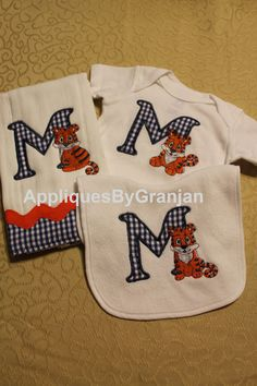 Embroidered and Appliqued Bodysuit Bib and by AppliquesByGranjan