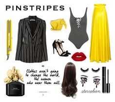 """""""Yellow pinstripes"""" by sterre-b00 ❤ liked on Polyvore featuring Topshop, STELLA McCARTNEY, Lime Crime, Givenchy, Loewe, Marc Jacobs, Drybar and Chanel"""