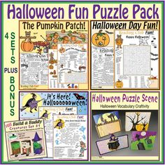 Halloween Fun Puzzle Pack – Puzzles and Activities Bundle Halloween Word Search, Halloween Puzzles, Halloween Words, Halloween Treats, Happy Halloween, Halloween Vocabulary, Printable Puzzles For Kids, Reading Club, Character Costumes