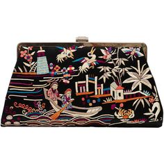 Pre-owned 1920s Chinese Silk Embroidered Clutch Bag (27.730 RUB) ❤ liked on Polyvore featuring bags, handbags, clutches, handbags and purses, man bag, embroidery purse, silk purse, 1920s handbags and 1920s purse