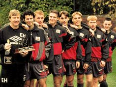 """Manchester United young guns - Ryan Giggs, Nicky Butt, David Beckham, Gary and Phil Neville, Paul Scholes and Terry Cooke.  """"You'll win nothing with kids"""", someone said!"""
