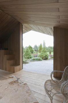 Poplar Garden House by architect Haiko Meijer of Onix. The Poplar Garden House is a gable-roofed structure, however it has a much more modern aesthetic than most. It is named for the uniformly wide poplar boards that cover it inside and out.