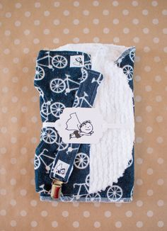 Bicycles Navy Gender neutral PNW Bib Burp Pacifier Teether Gift set Baby shower Newborn Tommys adventures Flannel Chenille Absorbent Soft by liltommysadventures on Etsy