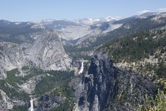 Vernal and Nevada Falls from a distance, Yosemite National Park, CA