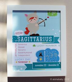 Sagittarius Baby Zodiac Print by alohababydesign on Etsy, $14.00