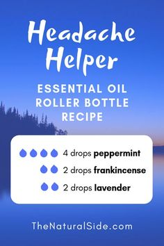Headache Helper Blend & 4 drops peppermint + 2 drops frankincense + 2 drops lavender & 15 Best Essential Oil Roller Bottle Recipes for Beginners Essential Oils For Headaches, Essential Oil Diffuser Blends, Doterra Essential Oils, Frankincense Essential Oil Uses, Doterra Blends, Yl Oils, Migraine Essential Oil Blend, Aromatherapy Diffuser, Aroma Diffuser