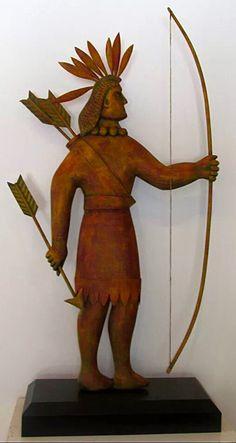 K William Kautz folk art carved wooden Indian weathervane / cigar store Indian.