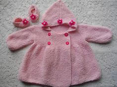 Ravelry: Knitting Pattern No. 17 Double Breasted Hooded Baby Coat & Shoes 0-3 Months pattern by Lynne Christie