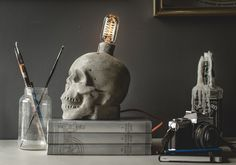 Concrete Skull Lamp by jessefdesign on Etsy, $249.00 @catwmn