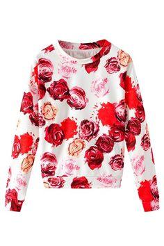 Multicolor Rose Print Long Sleeve Sweatshirt