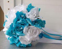 Malibu Blue Turquoise Bridal Wedding Bouquet Rhinestone Pins Silk Flower | eBay