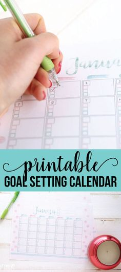 Free printable Goal Setting Calendar- use this to help accomplish all of your goals in the new year. via www.thirtyhandmadedays.comprin