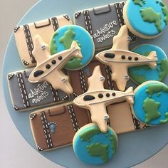 Travel Cookies Plane Cookies Retirement Cookies Birthday Cookies Treat Bags Party Favors Earth Day Cookies Around the World - Delivery Food - Ideas of Delivery Food - Gâteau Indiana Jones, Travel Bridal Showers, Party Favors, Wedding Favours, Diy Party, Ideas Party, Around The World Theme, Going Away Parties, Airplane Party