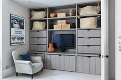 Wardrobe ideas, bedroom storage and clothes storage ideas; from stylish fitted wardrobes, corner wardrobes and built in cupboards, to mirrored and sliding wardrobe doors and storage boxes. Ikea Storage, Wall Storage, Bedroom Storage, Storage Spaces, Storage Ideas, Toy Storage, Storage Solutions, Playroom Storage, Media Storage