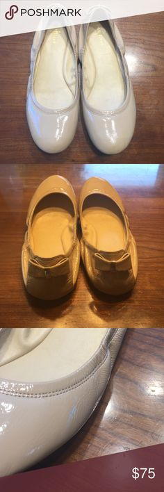 Cole Haan flats Classic and always stylish. These are nude patent leather Cole Haan flats with a little bow on the back of the heel. Lightly worn and in EXCELLENT condition! Freshly cleaned and looking perfect! These are a snug 8. Cole Haan Shoes Flats & Loafers
