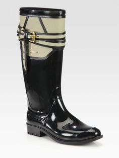 Burberry Willesden Leather-Trimmed Rain Boots #Wantering: The Social Web Search Service for Fashionistas