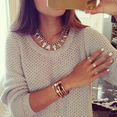 Beige Plain Hollow-out Round Neck Pullover Sweater