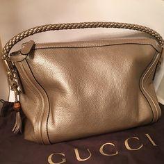 6bd0509d985b96 Gucci Bella Hobo Bag Pebbled Leather Bronze Authentic Gucci Bella Hobo Bag  / Color Bronze /