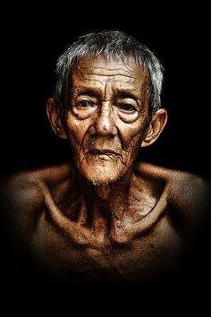 ♂ Man portrait face of old Asian man