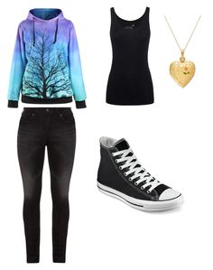 """Orphan"" by oaken-shield ❤ liked on Polyvore featuring beauty, Juvia, Silver Jeans Co. and Converse"