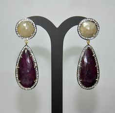 Yellow sapphire & Ruby Gemstone Studded Beautiful Sterling Silver Earrings Contact Us - gehnastore@gmail.com