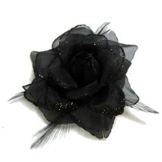 Black Glitter Rose with Feathers Hair Flower Clip and Pin (6,985 KRW) ❤ liked on Polyvore featuring accessories, hair accessories, feather hair clips, feather flower hair accessories, rose hair clip, glitter hair accessories and barrette hair clips