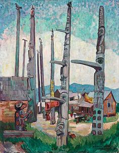 Totem Poles, Kitseukla is a Post-Impressionist Oil on Canvas Painting created by Emily Carr in It lives at the Vancouver Art Gallery in Canada. The image is in the Public Domain, and tagged Totem Poles. Canadian Painters, Canadian Artists, Canadian People, Emily Carr Paintings, Art Paintings, Group Of Seven Art, Vancouver Art Gallery, Impressionist Paintings, Art Moderne