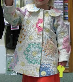 adorable - Little girl's jacket made from a Grandmother's flower garden quilt. Photo by Galloping Pony