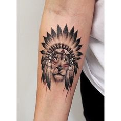 tattoo, lion, and indian Bild