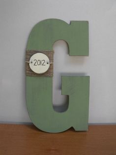 Wooden Monogram Letter with Custom Anniversary Date or Last Name, Distressed Paint, and Jute Rope