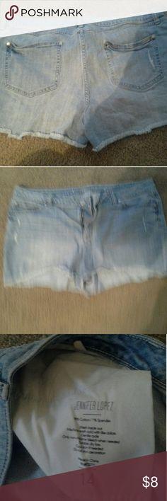 Women's Jennifer Lopez jean shorts Cute women's Jennifer Lopez jean shorts.  Cut off look.size 14. Stretchy and cute! Jennifer Lopez Shorts Jean Shorts