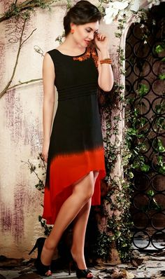 black and red c-cut kurti for girl