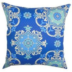 """Indoor/outdoor pillow.   Product: PillowConstruction Material: PolyesterColor: MarineFeatures:  Insert includedHidden zipper closureMade in the USASuitable for indoor or outdoor use Dimensions: 18"""" x 18""""Cleaning and Care: Spot clean"""