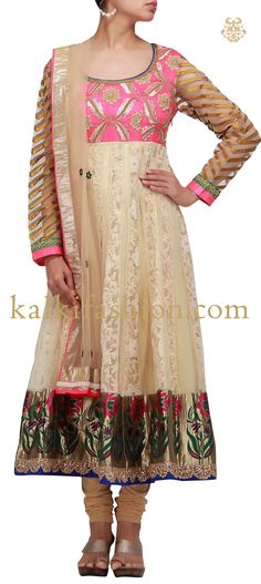 Buy it now http://www.kalkifashion.com/anarkali-suit-in-beige-with-resham-embroidery-on-the-yoke.html Anarkali suit in beige with resham embroidery on the yoke