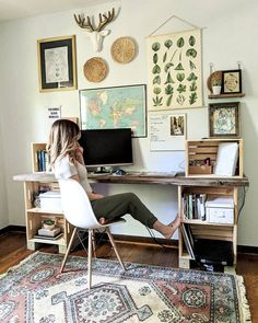 office with eclectic gallery wall. DIY crate desk via office with eclectic gallery wall. DIY crate desk via Katherine Home Office Space, Home Office Design, Home Office Decor, Diy Home Decor, Office Ideas, Guest Room Office, Bedroom Office Combo, Vintage Office Decor, Home Office Colors