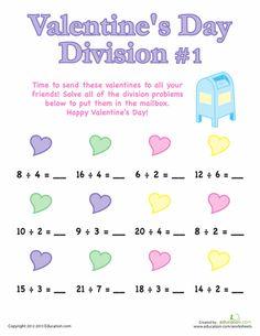 Worksheets: Valentine's Day Division #1