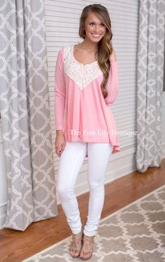 Devoted To You Pink Lace Blouse - The Pink Lily Boutique