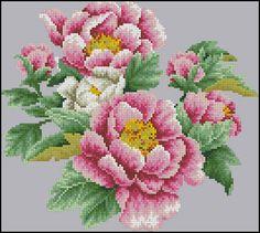 Бархатистые пионы - Цветы, натюрморты с цветами - Схемы вышивки - Иголка