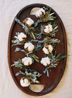 Cotton Boutonnieres | West Marin Wedding with Venn Floral, Laura Catherine Photography, and Joyeux Events at Straus Home Ranch.