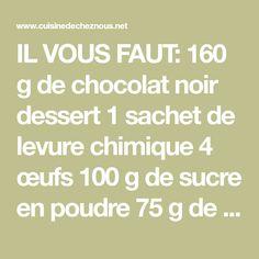IL VOUS FAUT: 160 g de chocolat noir dessert 1 sachet de levure chimique 4 œufs 100 g de sucre en poudre 75 g de maïzena 50 g de farine 125-130 g de beurre + noisette de beurre pour le moule 1 grand bol 1 petit bol 1 moule à cake (10×26 cm) 1 verre […]