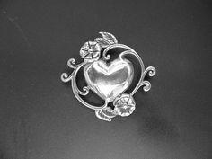Art Nouveau Heart Brooch Sterling Silver by VintageVogueTreasure