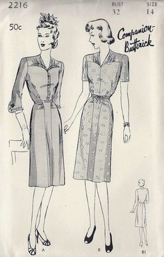 1940s Misses Date Dress Vintage Sewing Pattern от MissBettysAttic, $30.00