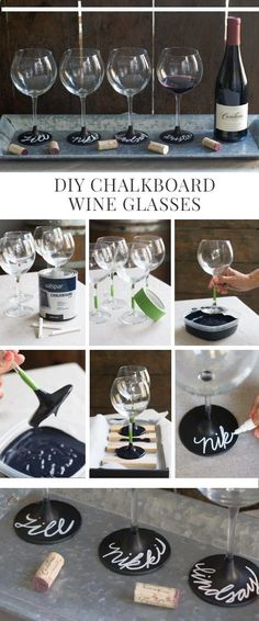 Wine Glasses - cadeau - coupe tableau noir #BridalShowerFavors