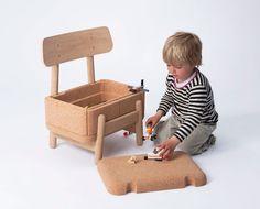 OAK OAK Children's Chair is a fun little puzzle piece and storage unit, made of oak and cork. http://vurni.com/oak-oak-childrens-chair/