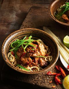Thai-flavoured pork with noodles Recipe Noodle Recipes, Pork Recipes, Cooking Recipes, Healthy Recipes, Pork Noodles, Thai Noodles, Larb Salad, Pork Larb, Pork Carnitas Recipe