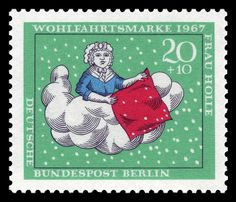 In 1967, Germany issued a series of four stamps showing Frau Holle from the Grimm fairy tales. File:DBPB 1967 311 Frau Holle.jpg