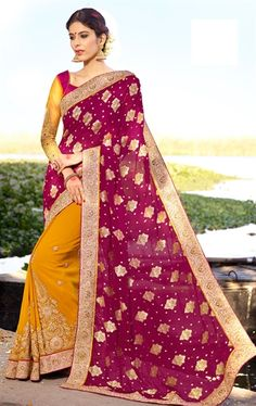 Sparkling Purple and Yellow Latest Online Saree