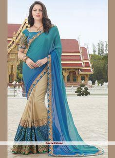 Ideal Embroidered Work Beige and Blue Designer Half N Half Saree
